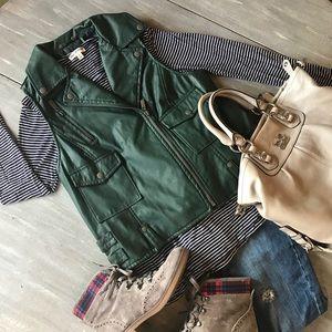 Jou Jou 100% Vegan Leather Moto Vest, Green